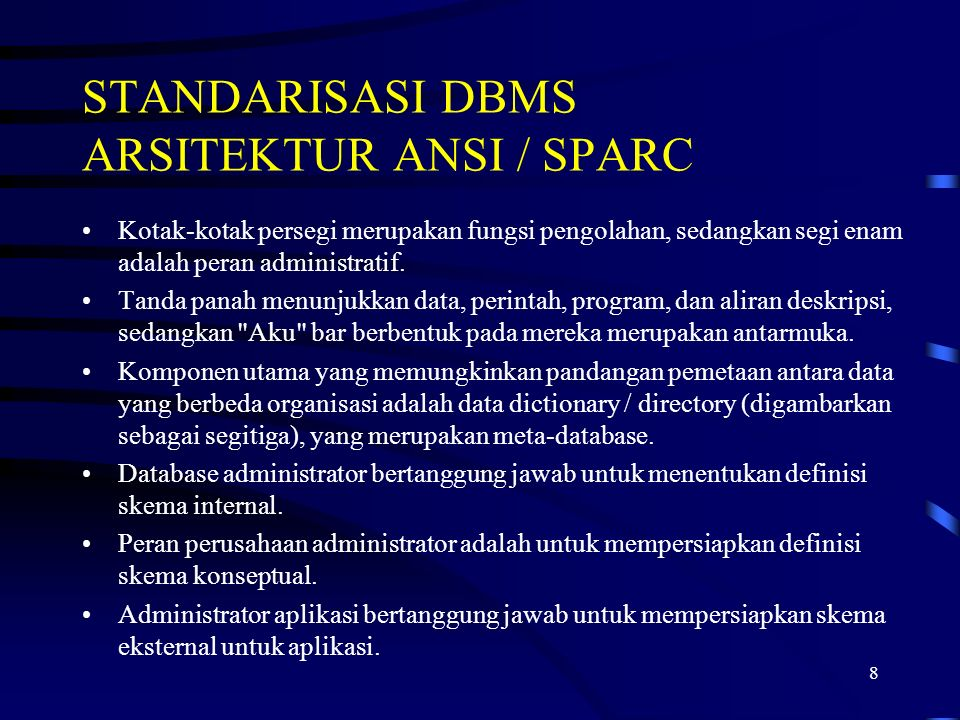 STANDARISASI DBMS ARSITEKTUR ANSI / SPARC