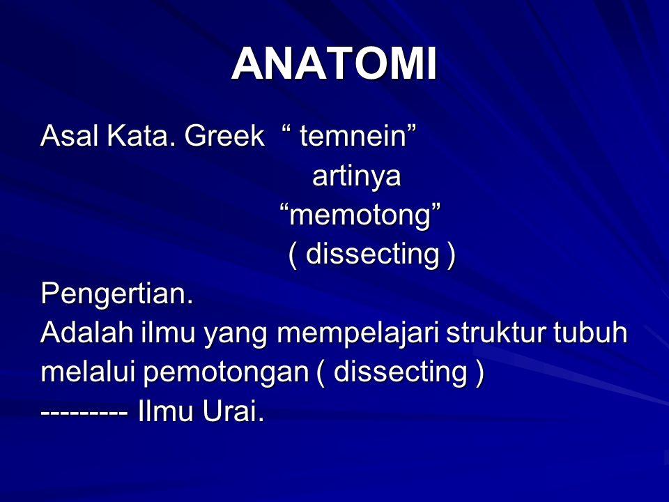 ANATOMI Asal Kata. Greek temnein artinya memotong ( dissecting )