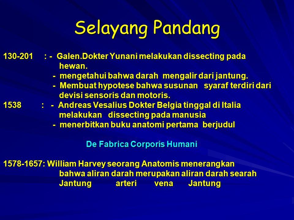 Selayang Pandang 130-201 : - Galen.Dokter Yunani melakukan dissecting pada. hewan. - mengetahui bahwa darah mengalir dari jantung.