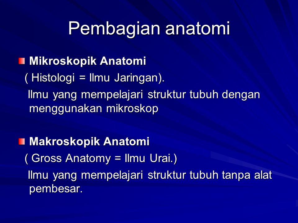 Pembagian anatomi Mikroskopik Anatomi ( Histologi = Ilmu Jaringan).