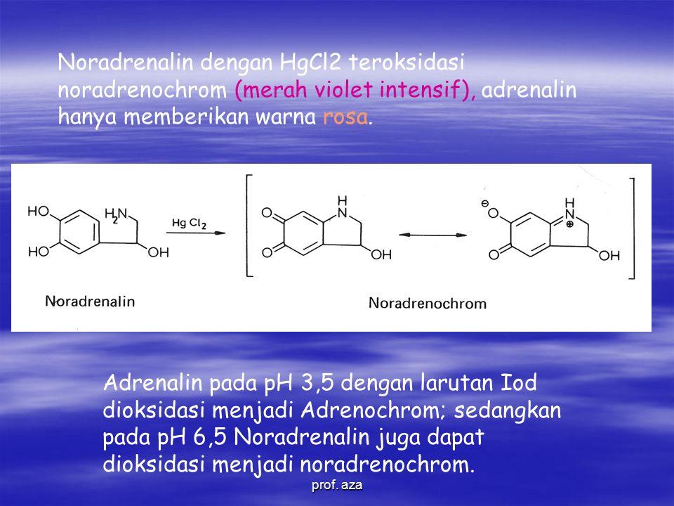 Noradrenalin dengan HgCl2 teroksidasi noradrenochrom (merah violet intensif), adrenalin hanya memberikan warna rosa.