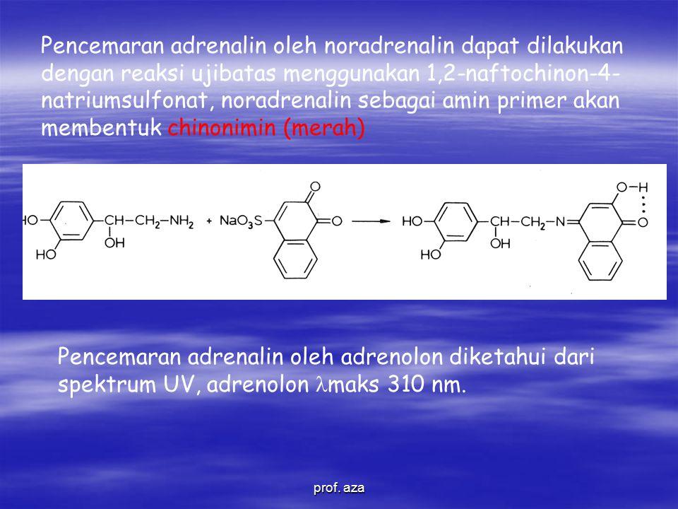 Pencemaran adrenalin oleh noradrenalin dapat dilakukan dengan reaksi ujibatas menggunakan 1,2-naftochinon-4-natriumsulfonat, noradrenalin sebagai amin primer akan membentuk chinonimin (merah)