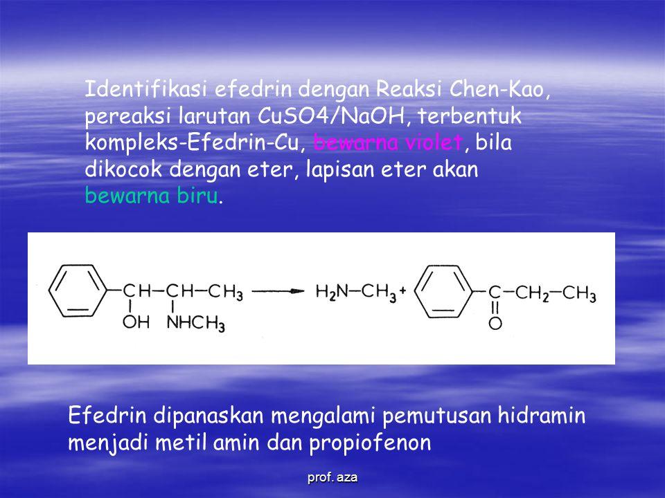 Identifikasi efedrin dengan Reaksi Chen-Kao, pereaksi larutan CuSO4/NaOH, terbentuk kompleks-Efedrin-Cu, bewarna violet, bila dikocok dengan eter, lapisan eter akan bewarna biru.