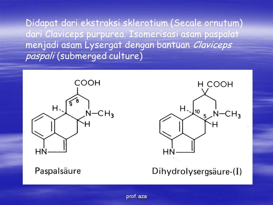 Didapat dari ekstraksi sklerotium (Secale ornutum) dari Claviceps purpurea. Isomerisasi asam paspalat menjadi asam Lysergat dengan bantuan Claviceps paspali (submerged culture)