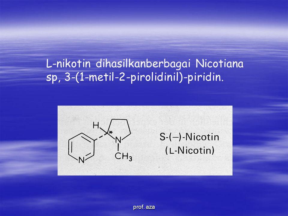 L-nikotin dihasilkanberbagai Nicotiana sp, 3-(1-metil-2-pirolidinil)-piridin.