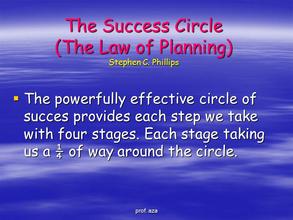 The Success Circle (The Law of Planning) Stephen C. Phillips