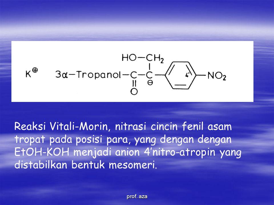 Reaksi Vitali-Morin, nitrasi cincin fenil asam tropat pada posisi para, yang dengan dengan EtOH-KOH menjadi anion 4'nitro-atropin yang distabilkan bentuk mesomeri.
