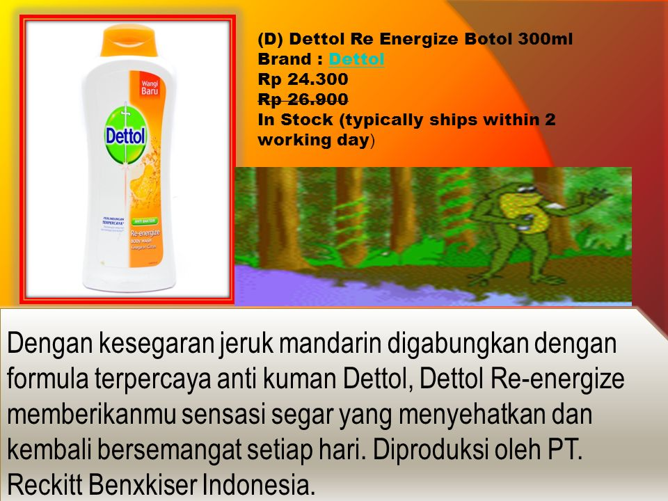 (D) Dettol Re Energize Botol 300ml