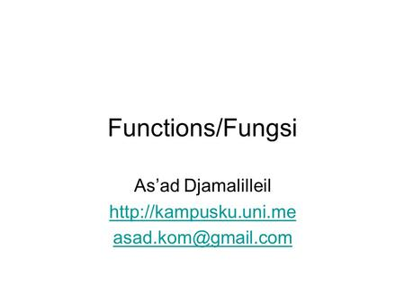 Functions/Fungsi As'ad Djamalilleil