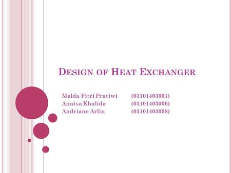 Design of Heat Exchanger
