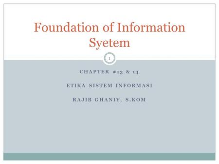 Foundation of Information Syetem
