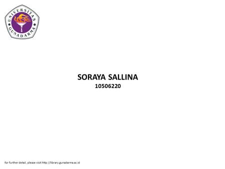 SORAYA SALLINA 10506220 for further detail, please visit