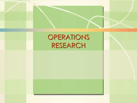 6s-1Linear Programming William J. Stevenson Operations Management 8 th edition OPERATIONS RESEARCH.