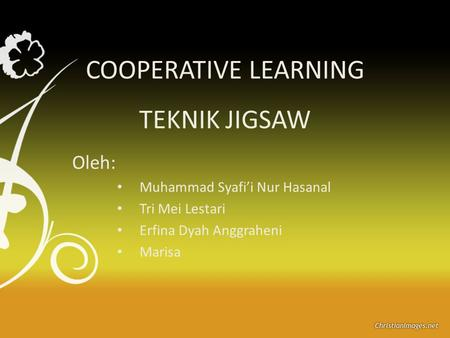 COOPERATIVE LEARNING TEKNIK JIGSAW