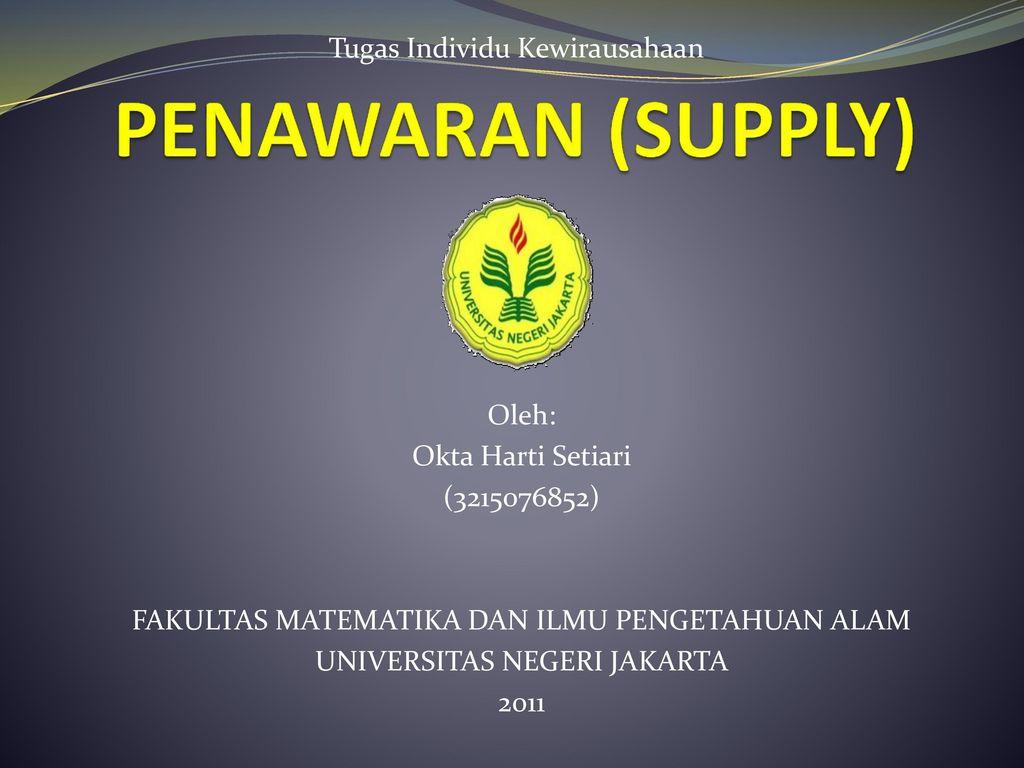 Penawaran Supply Tugas Individu Kewirausahaan Oleh Ppt Download