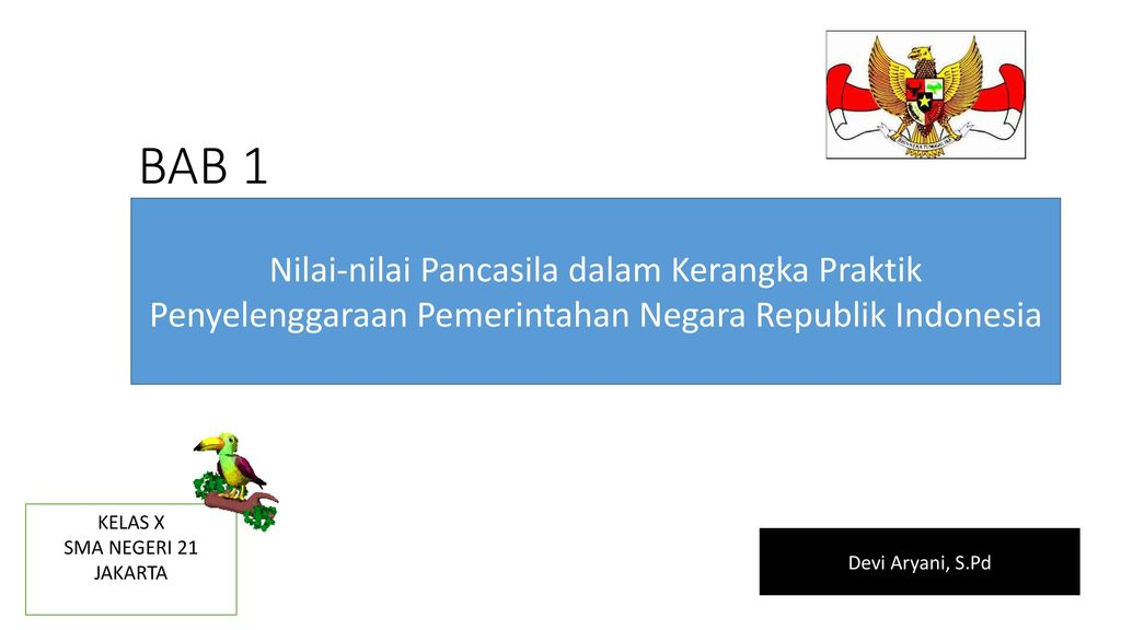 Bab 1 Nilai Nilai Pancasila Dalam Kerangka Praktik Penyelenggaraan Pemerintahan Negara Republik Indonesia Kelas X Sma Negeri 21 Jakarta Devi Aryani S Pd Ppt Download
