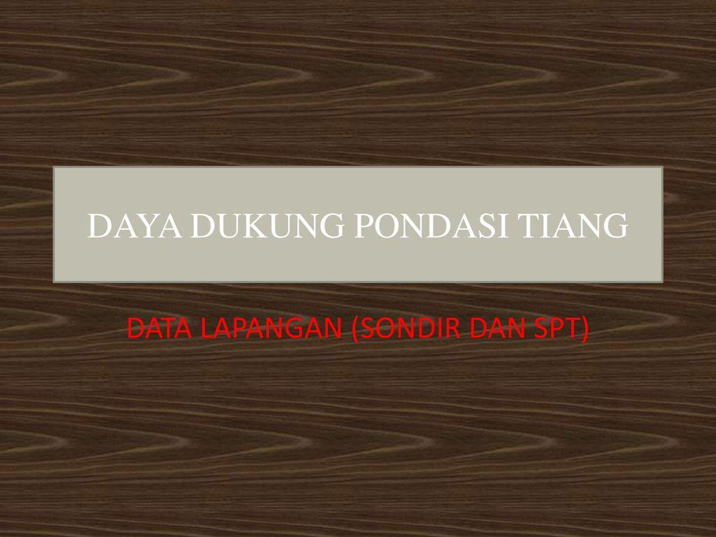 Daya Dukung Pondasi Tiang Ppt Download