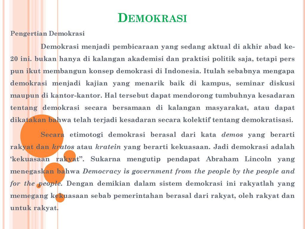 Demokrasi Pengertian Demokrasi Ppt Download