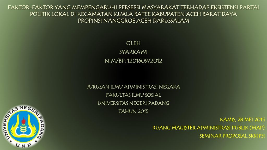 Jurusan Ilmu Administrasi Negara Universitas Negeri Padang Ppt Download