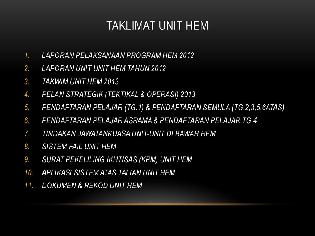 Taklimat Unit Hem Laporan Pelaksanaan Program Hem Ppt Download