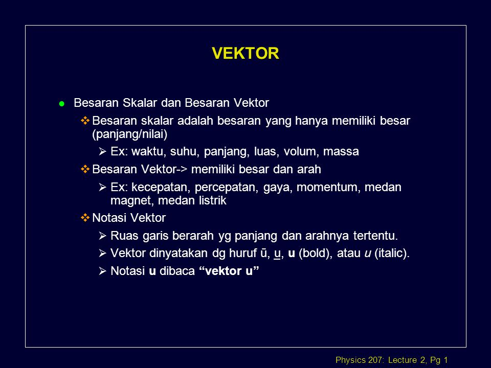 Pertemuan 2 Aritmatika Vektor Ppt Download
