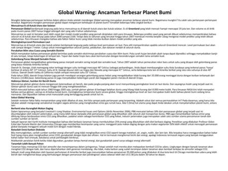 Global Warning: Ancaman Terbesar Planet Bumi