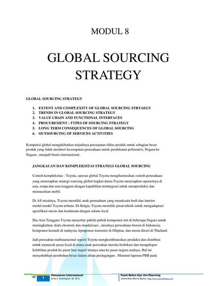 STRATEGY GLOBAL SOURCING MODUL 8 GLOBAL SOURCING STRATEGY