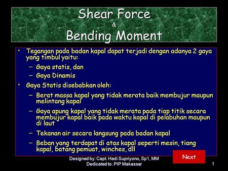 Shear Force & Bending Moment