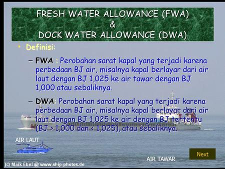 FRESH WATER ALLOWANCE (FWA) & DOCK WATER ALLOWANCE (DWA)
