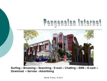 Pengenalan Internet Surfing – Browsing – Searching - E-mail – Chatting – SMS – E-card – Download – Servise - Advertising Nanik Triana, M.Kom.