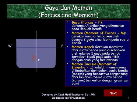 Gaya dan Momen (Forces and Moment)