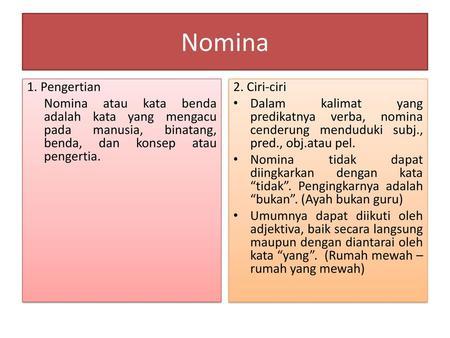 Nomina 1 Pengertian Nomina Atau Kata Benda Adalah Kata Yang Mengacu