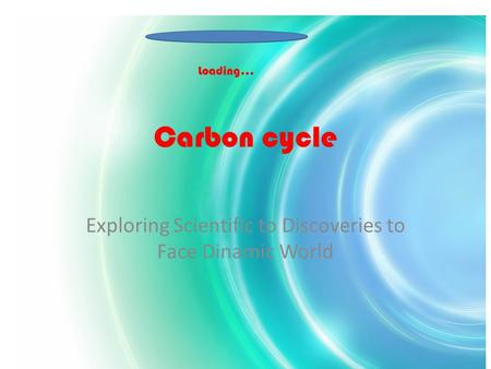 Carbon cycle Exploring Scientific to Discoveries to Face Dinamic World Loading…