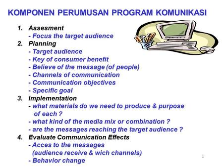 1 KOMPONEN PERUMUSAN PROGRAM KOMUNIKASI 1.Assesment - Focus the target audience 2.Planning - Target audience - Key of consumer benefit - Believe of the.