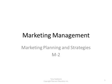 Marketing Planning and Strategies M-2