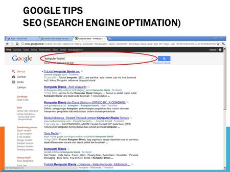GOOGLE TIPS SEO (SEARCH ENGINE OPTIMATION).