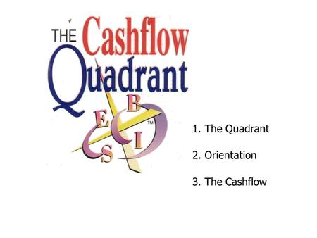 1. The Quadrant 2. Orientation 3. The Cashflow.