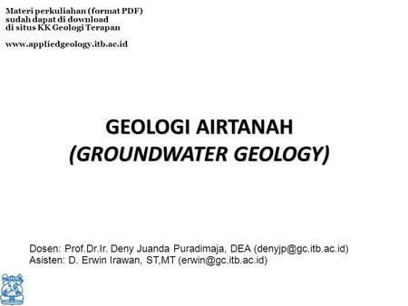 (GROUNDWATER GEOLOGY)‏