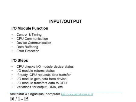 INPUT/OUTPUT I/O Module Function I/O Steps Control & Timing