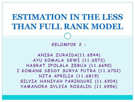 ESTIMATION IN THE LESS THAN FULL RANK MODEL