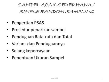 SAMPEL ACAK SEDERHANA / SIMPLE RANDOM SAMPLING