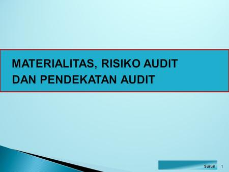 MATERIALITAS, RISIKO AUDIT DAN PENDEKATAN AUDIT