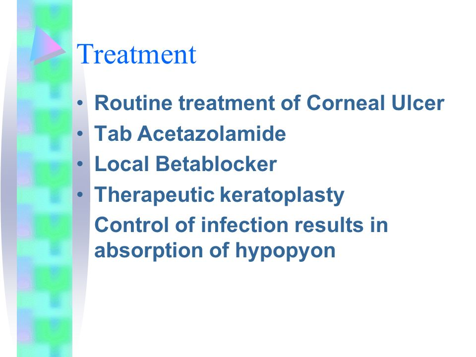 Treatment Routine treatment of Corneal Ulcer Tab Acetazolamide