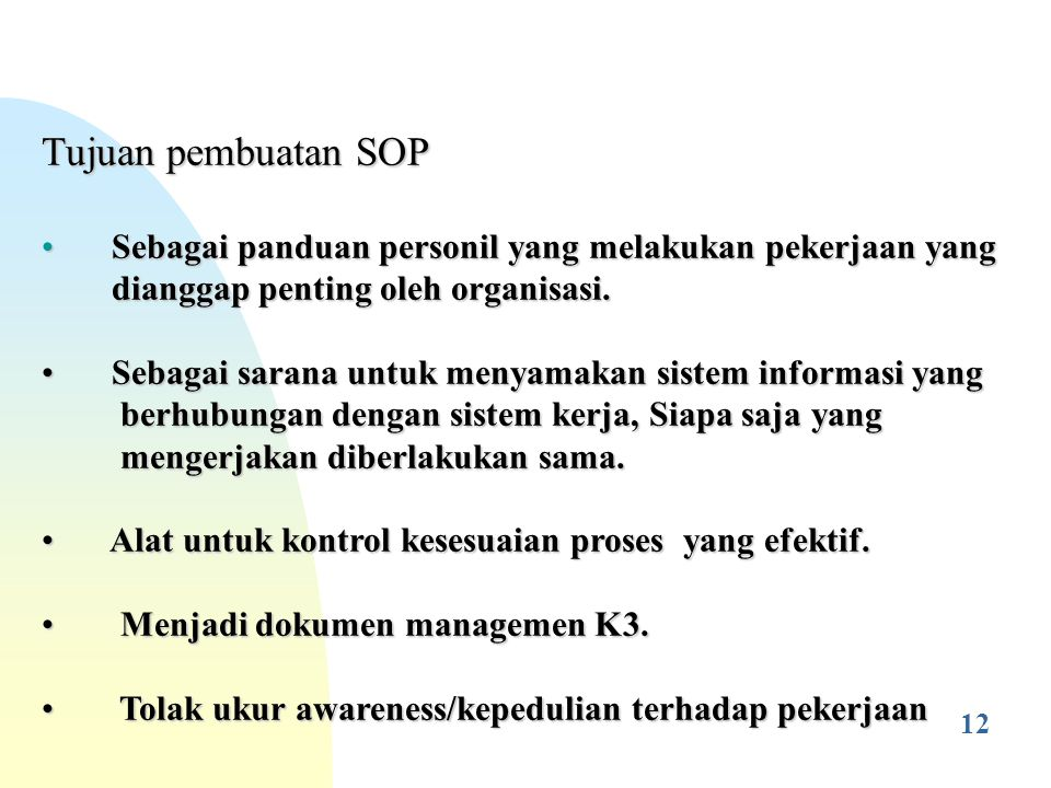 Standard Operating Procedure Sop Prosedur Kerja Standar Pks Ppt Download