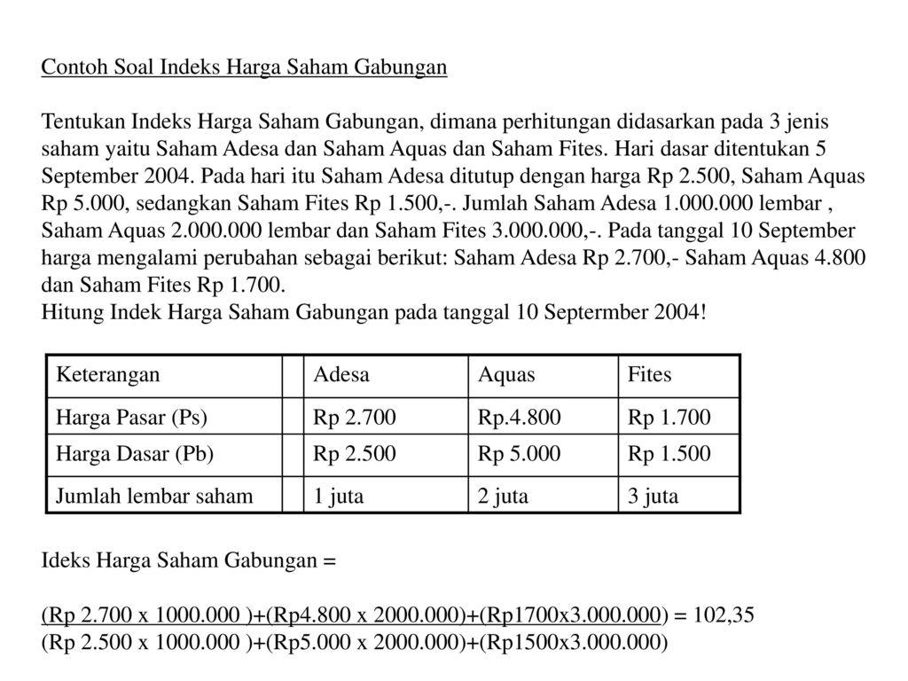 Indeks Harga Saham Individual Indeks Harga Saham Gabungan Ppt Download