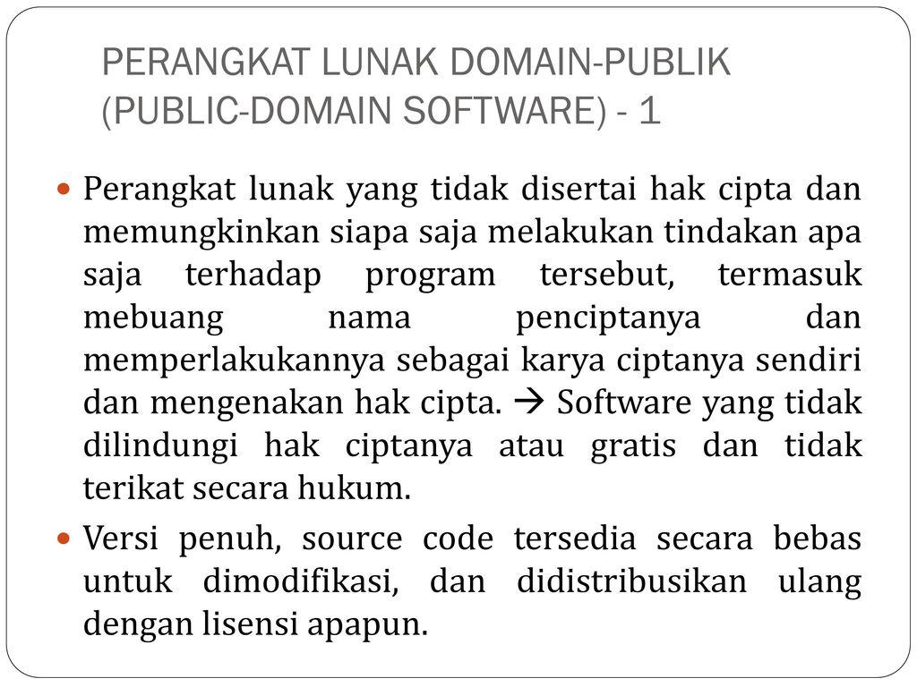Perangkat Lunak Domain Publik Public Domain Software  C B Public Domain Benchmarking  C B Contoh