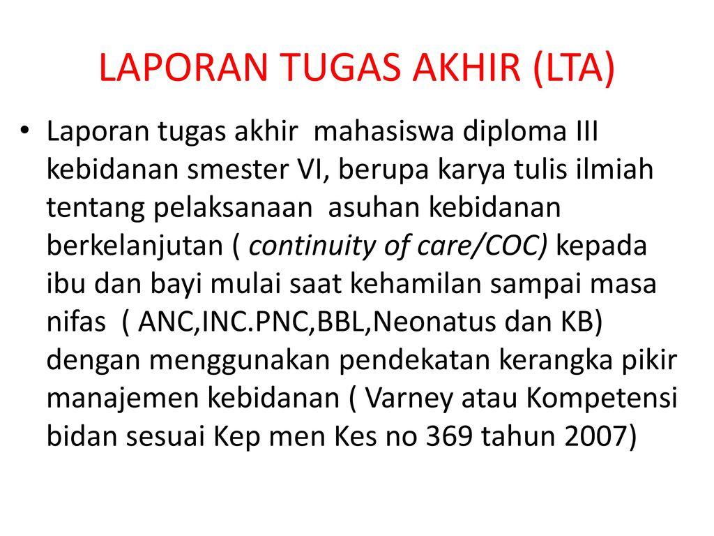Laporan Tugas Akhir Diploma Iii Kebidanan Ppt Download