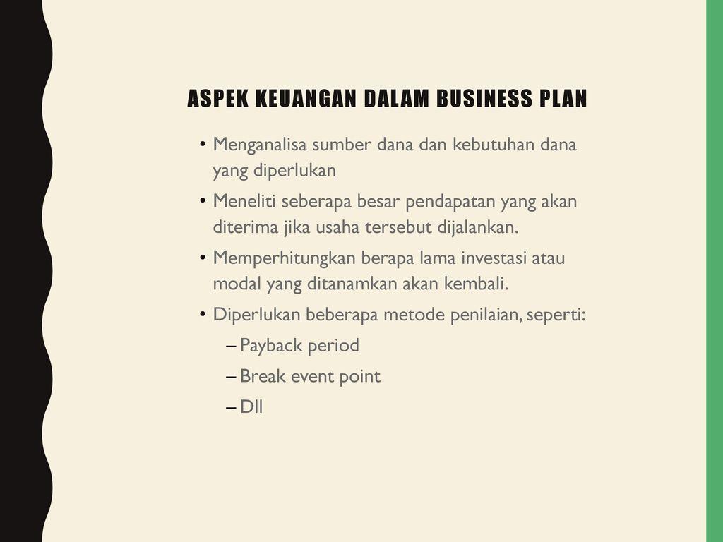 Aspek Keuangan Dalam Business Plan Ppt Download