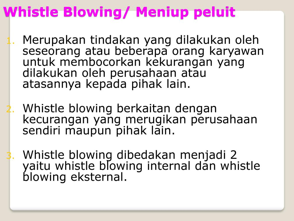Whistle Blowing/ Meniup peluit