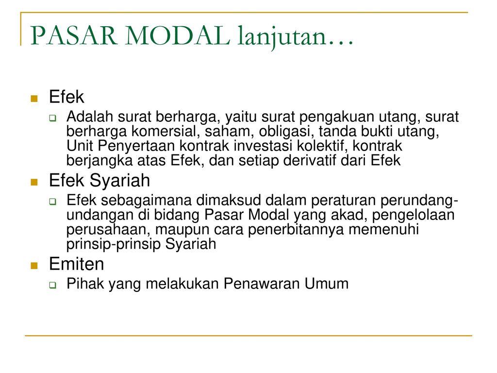 Pasar Modal Syariah Dan Dana Pensiun Syariah Ppt Download